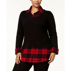 Style&Co B+Red Plaid Ribbed Layered-Look Sweater